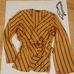 INC silky wrap top. Gold with black stripe. L